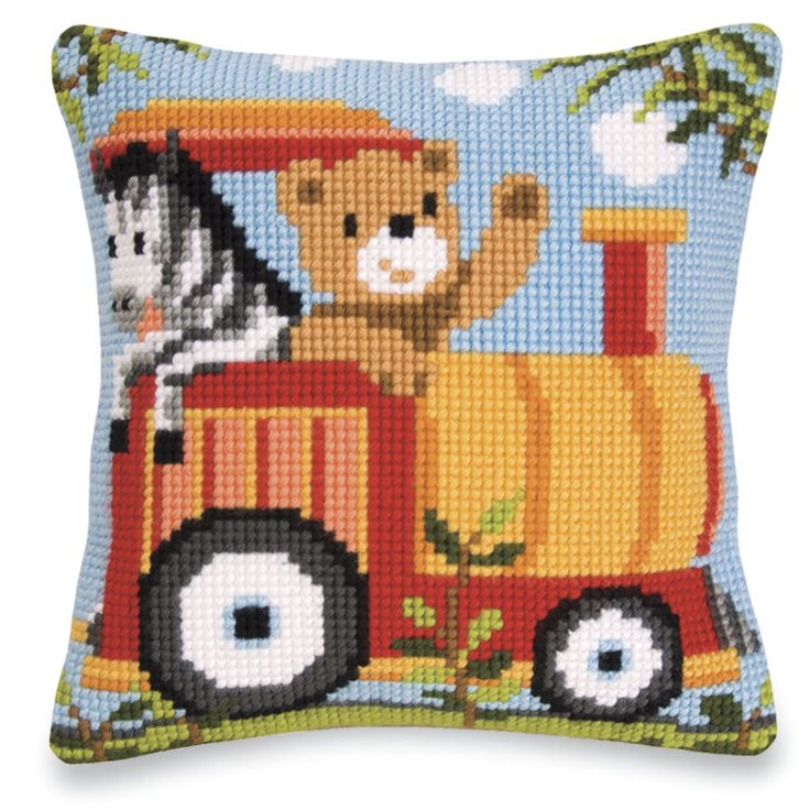 All Three Zoo Train Pillow Tops - Cross Stitch, Needlepoint, Embroidery Kits – Tools and Supplies