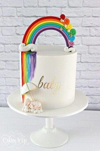 Rainbow watercolour baby shower cake