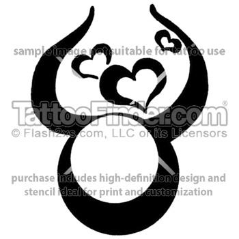 Taurus Hearts tattoo design by Melanie Paquin