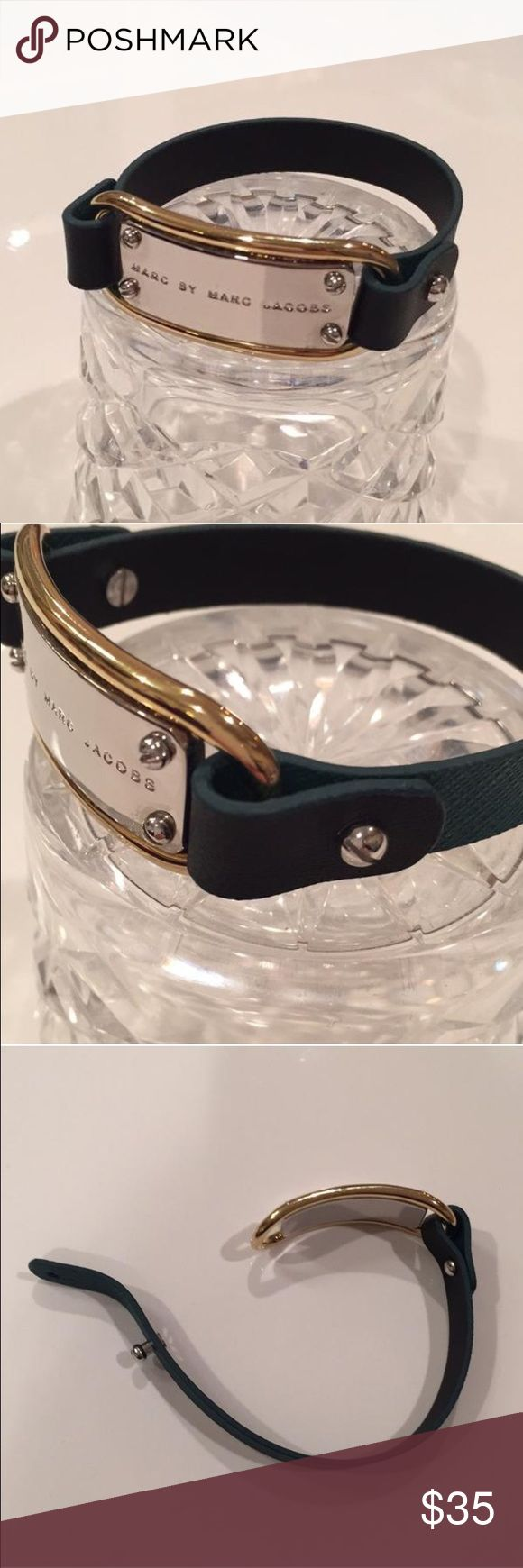 Marc by Marc Jacobs | Bracelet in Green + Silver Deep forest green armband with black back accentuated by silver metallic plaque with a gold border and engraved with iconic Marc by Marc Jacobs logo. Wear alone or stack with additional colorful bangles. Condition: New, no tags Marc by Marc Jacobs Jewelry Bracelets