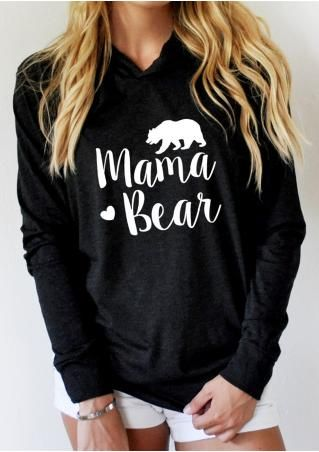 XTRA LARGE BLACK   MAMA BEAR Printed Long Sleeve Hoodie