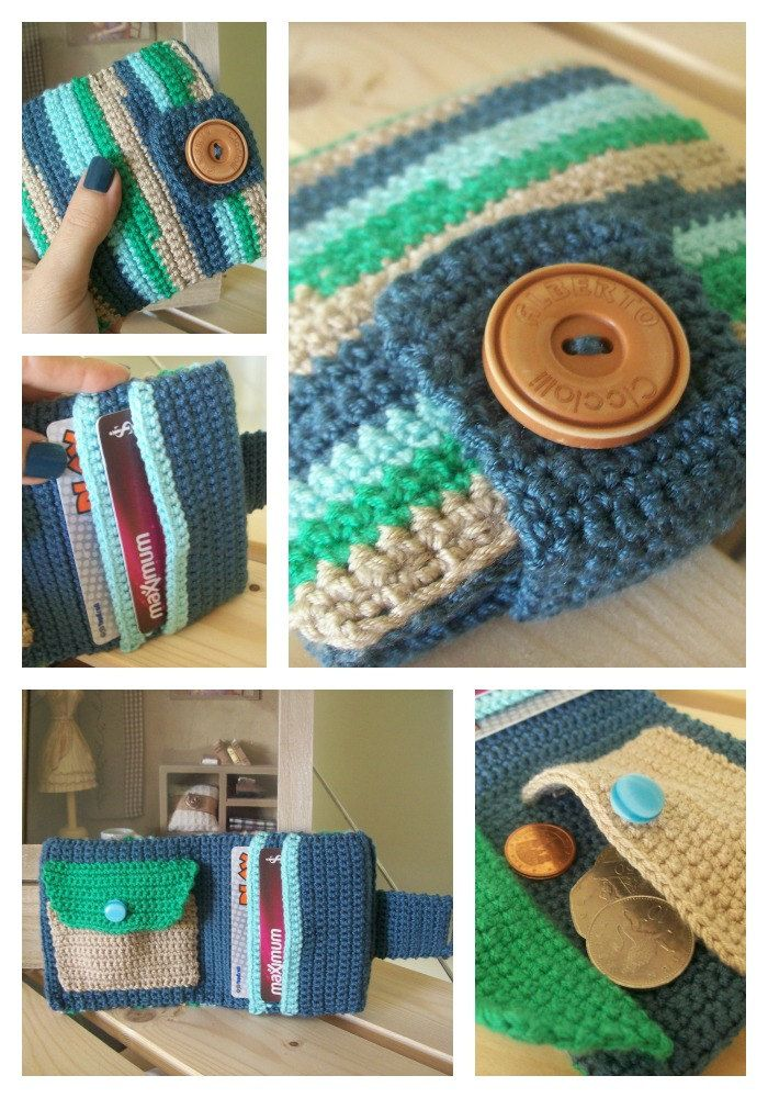 Crocheted wallet, blue, brown, green with a brown button, with 2 card holders and a coin pocket.