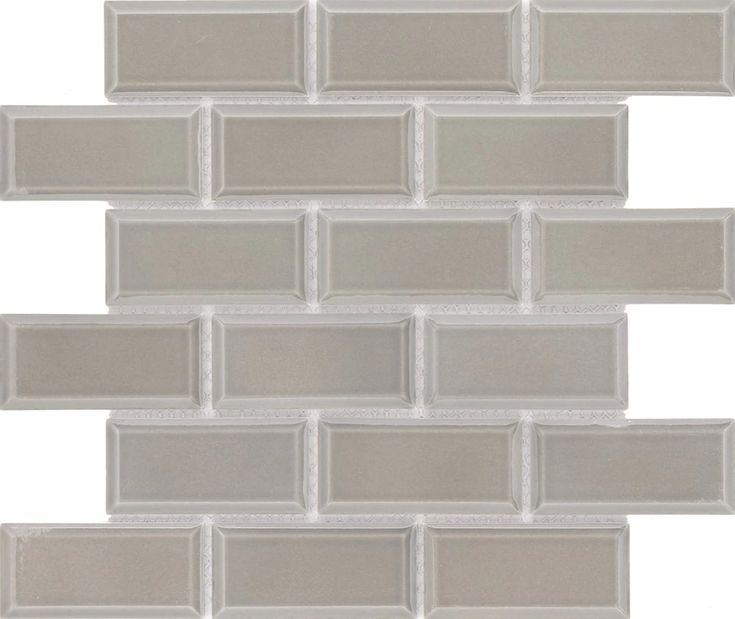 Sample – Subway Tile 2×4 Glossy Taupe Gray Beveled