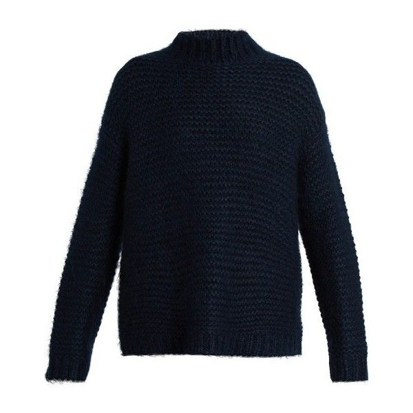 Tabula Rasa Uoti mohair and silk-blend knit sweater (48.320 RUB) ❤ liked on Polyvore featuring tops, sweaters, navy, slouchy tops, blue top, blue sweater, blue knit sweater and fuzzy sweaters