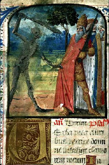 La mort attaquant un pape, Livre d'heures, 15e siècle #enluminure