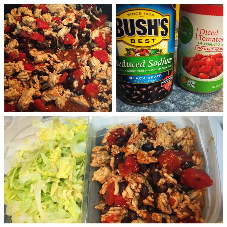 Lunch idea for Advocare 24 Day Challenge Cleanse Phase or Max Phase  Protein - 99% Fat Free Ground Turkey  (with a little bit of taco seasoning) Vegetable - Lettuce, Diced Tomatoes  Complex Carb - Black Beans 4-6 ounces of Protein, 2 cups leafy greens