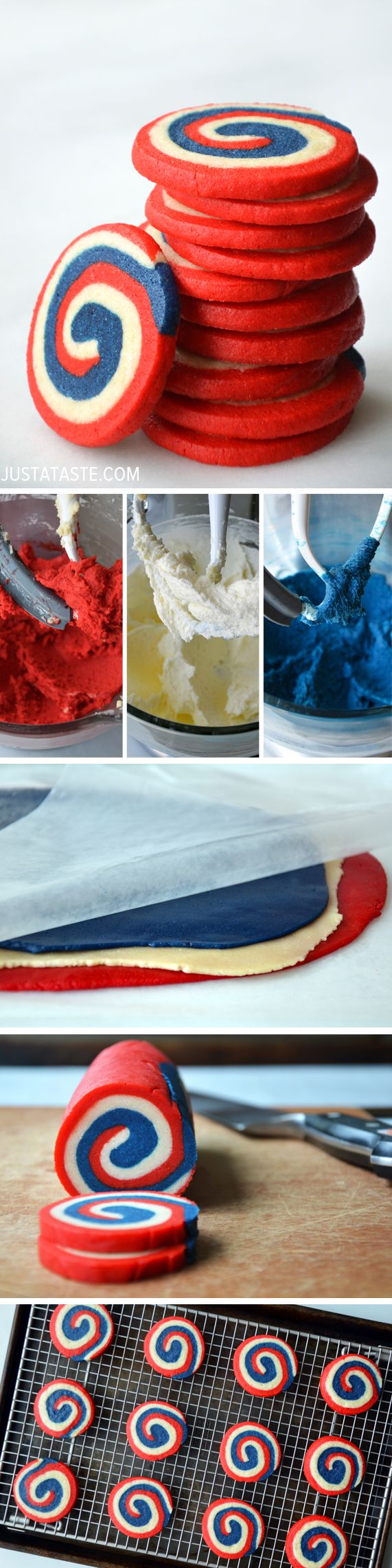 Captain America cookies! Red, White and Blue Pinwheel Icebox Cookies #recipe #july4th