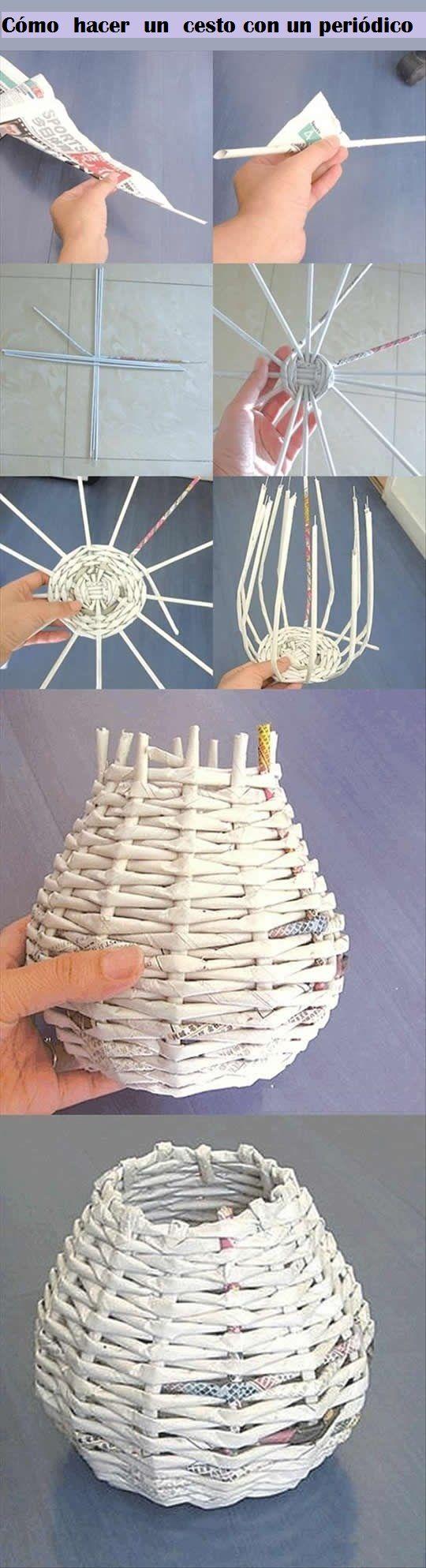 DIY y manualidades: Cómo hacer un cesto con un periódico | Reciclaje - #DIY – Recycling ecoagricultor.com