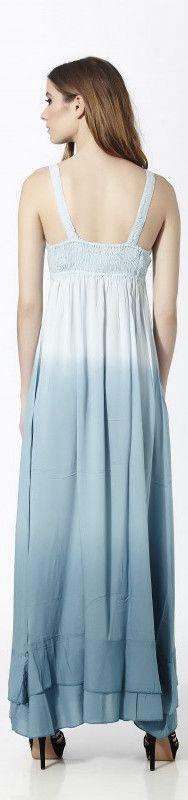 Vestido largo de tirantes en azul degradado