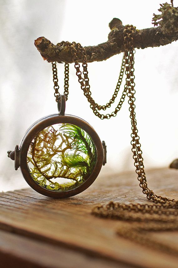 Real Moss Necklace , Floating Locket , Living Locket , Mini Terrarium  Jewellery , Glass Terrarium