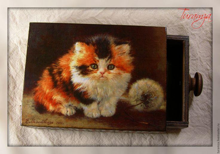 """Купить Шкатулка """"Котенок"""" - шкатулка, шкатулка для украшений, Кошки, котята, котенок, шкатулка ручной работы"""