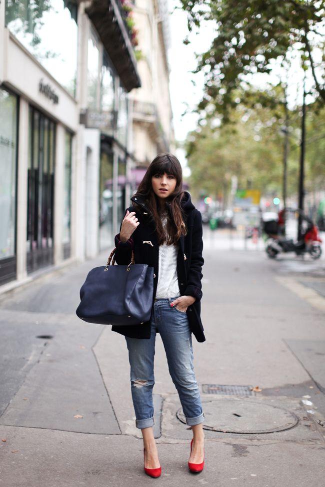 Duffle Coat & Boyfriend Jeans w/ Red Pumps
