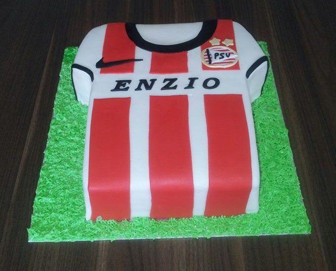 Birthdaycake, t-shirt, soccer, PSV, 3D, boy, verjaardagstaart, jongen, voetbal
