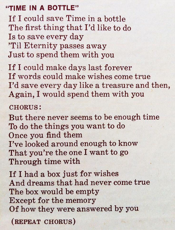 time in a bottle lyrics - Google Search