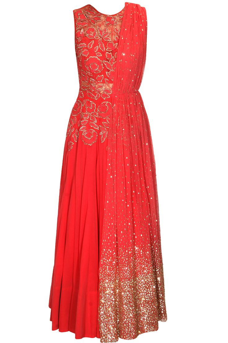 Red floral embroidered anarkali with attached dupatta by Ridhi Mehra.  Shop now: www.perniaspopupshop/designers/ridhi-mehra #shopnow #ridhimehra #perniaspopupshop