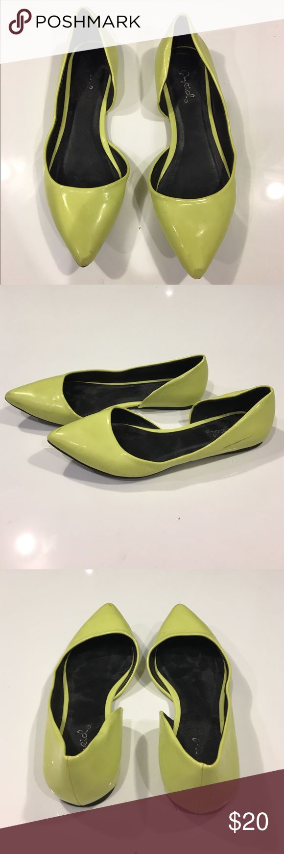 Neon Flats Neon yellow flats! Shiny finish with soft black interior. Size 6. Shoes Flats & Loafers