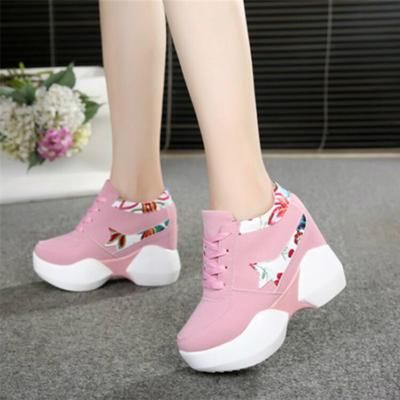 Heel Shoes Women Inner Heightening Sports Shoes Fashion Flower Wedge Female Sport Shoes