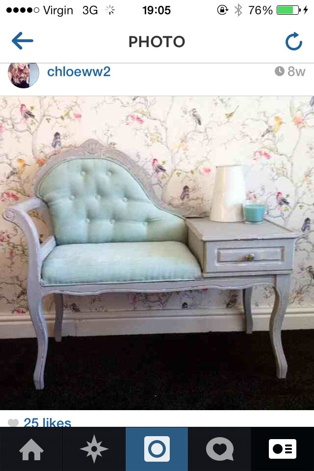 Upcycled Telephone Table Shabby Chic Bird Wallpaper From Bq