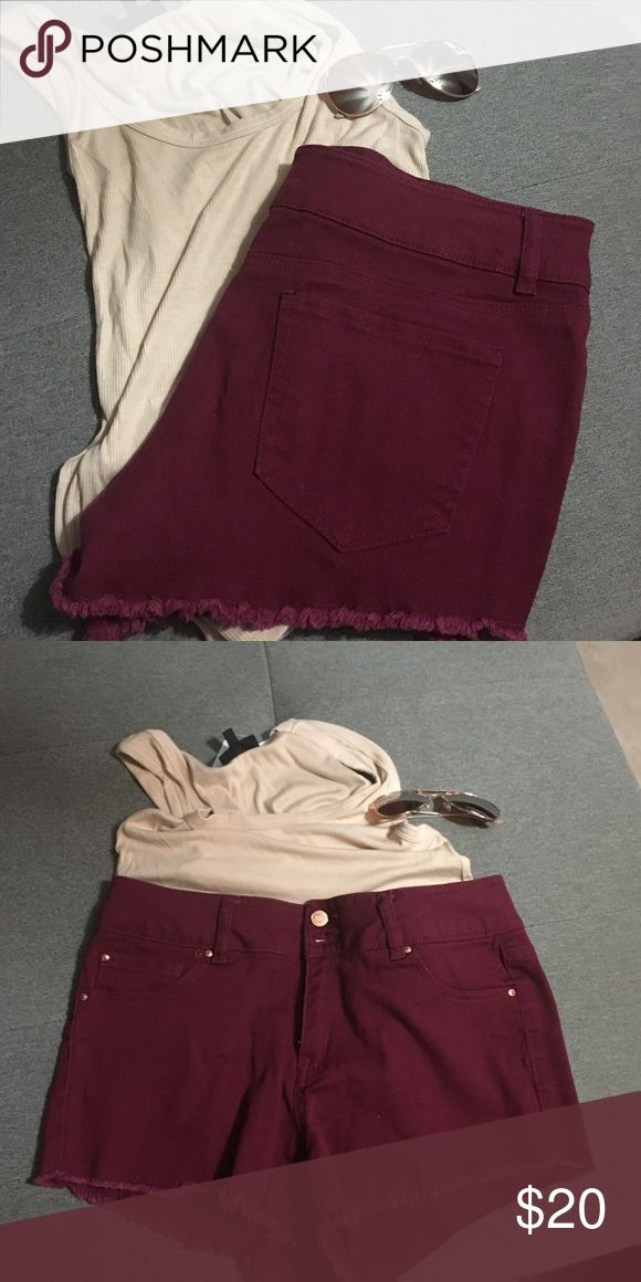 High waisted maroon shorts Like new worn twice (brand is used for views)  ❤️ American Eagle Outfitters Shorts Jean Shorts