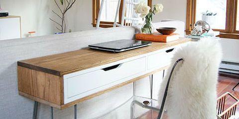 IKEA-hack-van-wandplank-tot-retro-bureau