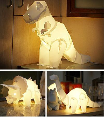 Dinosaur lamps Thinking these may be an awesome present for my Tbug! maybe it would get him to sleep in his own bed! Ha!