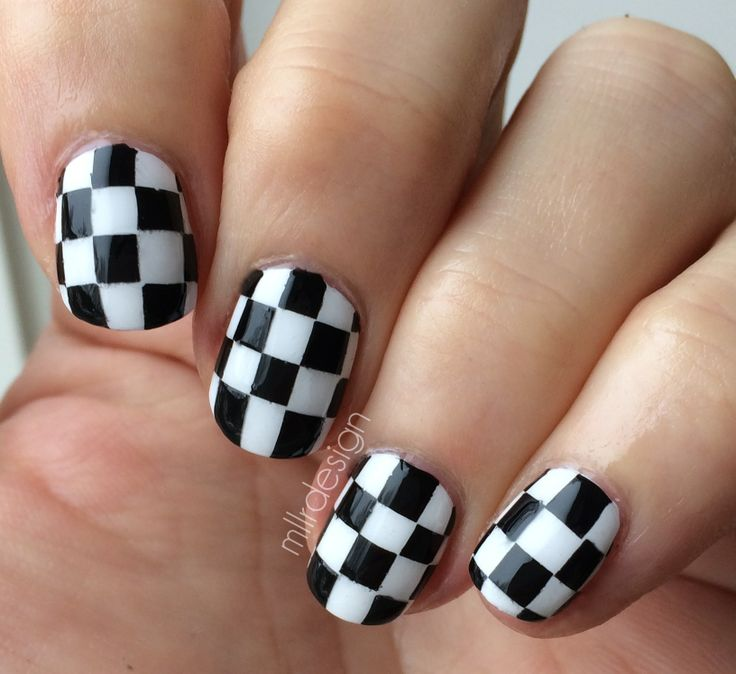 checkered Nail Designs | Checkered nails