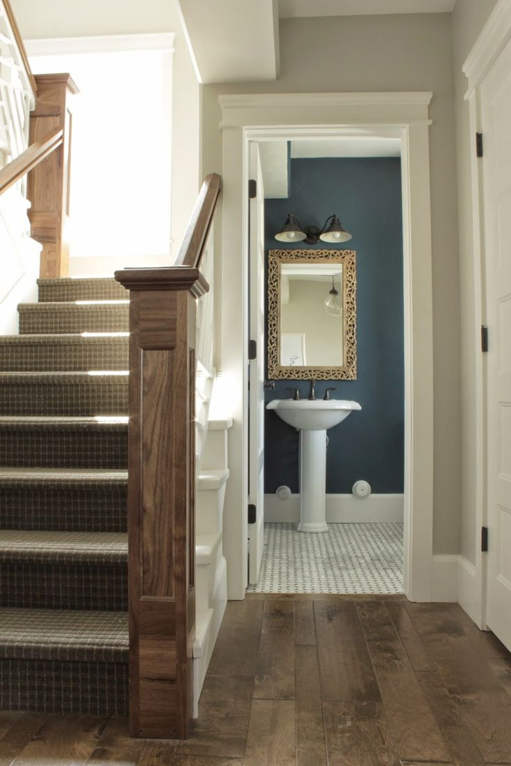 Maybe Dark Blue Gray Walls In Powder Room With Gray Marble