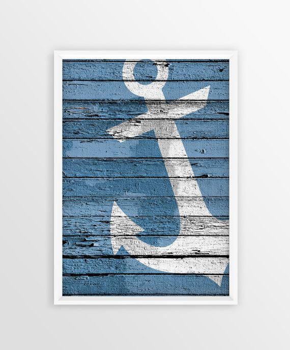 Anchor Print, Nautical wall art, Wood Anchor Sign, Marine Style, Sea, Ocean…