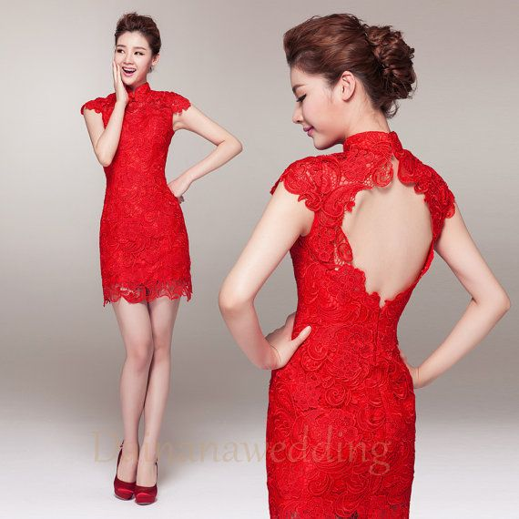 Chinese style evening dress