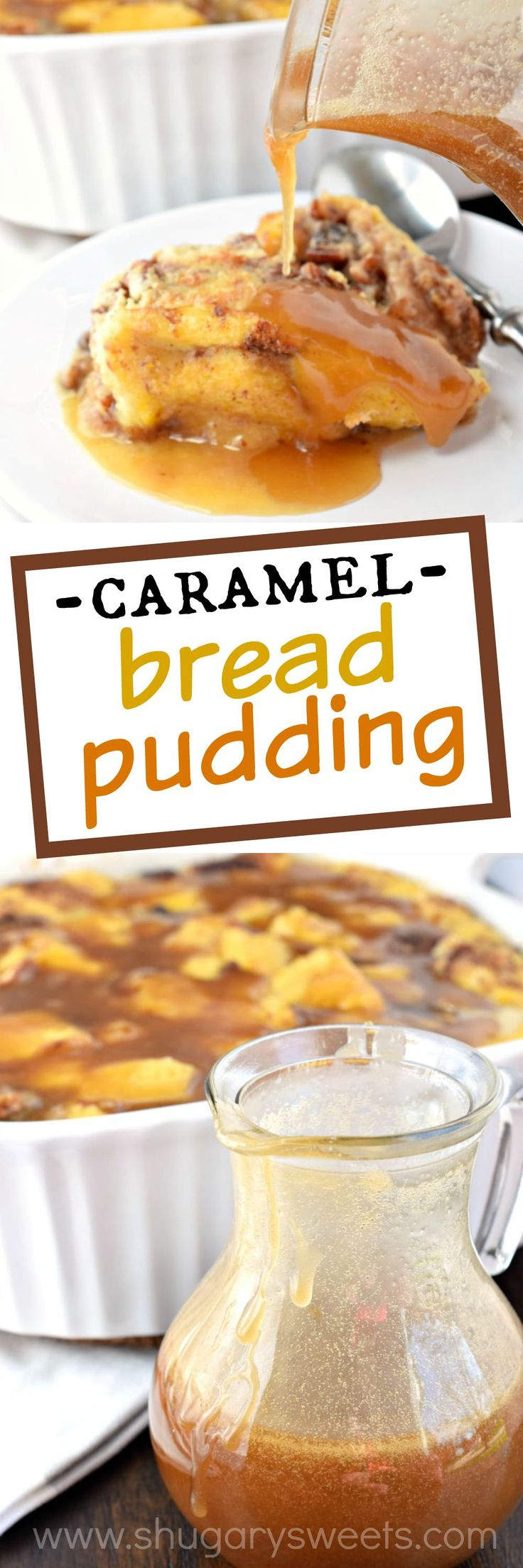 Caramel Bread Pudding has a perfect custard pudding center with a crisp outer crust! Packed with flavor and topped with caramel sauce, this is the dessert you've been craving! #FisherUnshelled