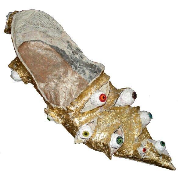 Papier mache shoe with many eyes on www.lora-nikolova.com