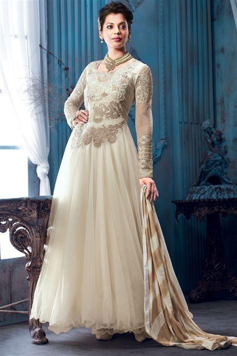 Ravishing Mugdha Godse Cream Georgette Designer Floor Touch Suit