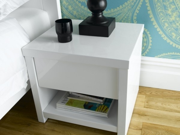 Ice Aria High Gloss Bedside Cabinet