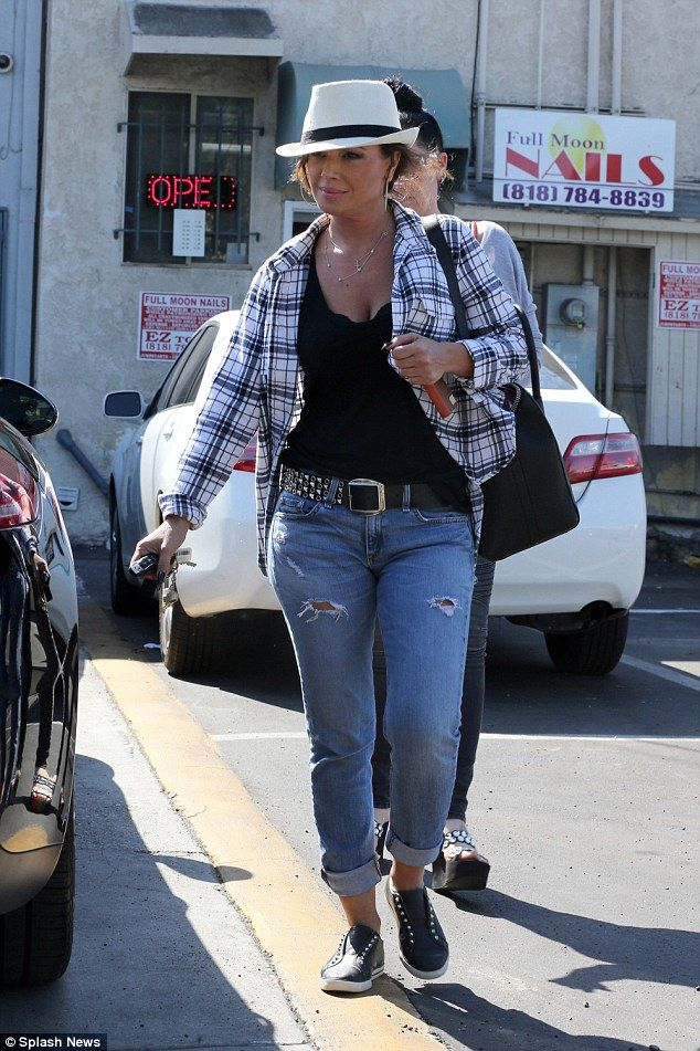 Pampering herself: Leah Remini got in some much-needed relaxation on Tuesday at a nail salon in Los Angeles