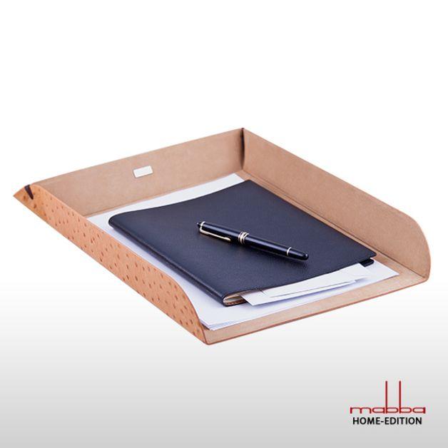 Papierablage Leder DIN A4 braun Schreibtischablage