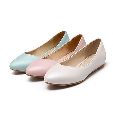 15 cm Womens Shoes Flat Heel Pointed Toe Flats Casual Blue Pink White 2016