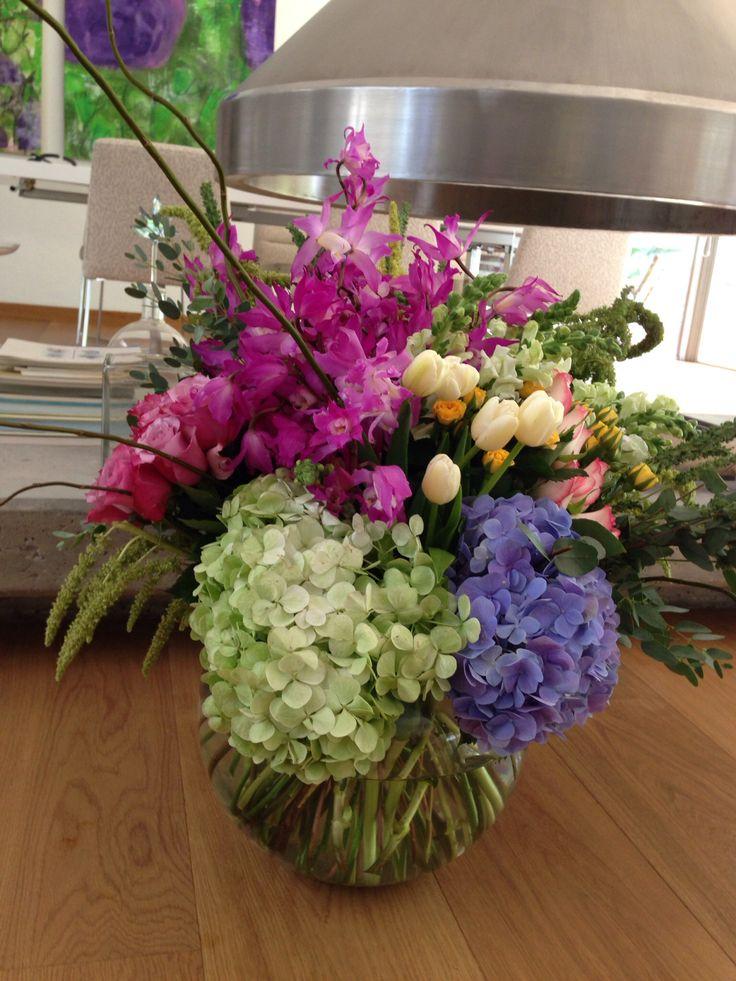 Colorful flower arrangement, tulips, roses, hydrangeas, babyrose