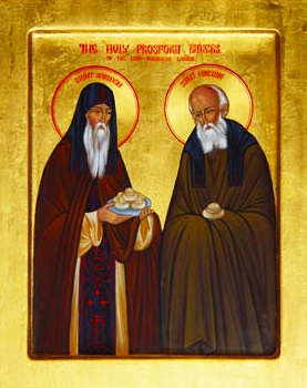 Monks Spiridon and Nikodim made Prosphora at Pechersk (Kiev Caves) for 30 years. Spiridon came to the monastery during his middle age, and was graced by miracles. He once extinguished his mantle which had caught fire from the oven, and the mantle was not even singed. Nikodim and Spiridon led a very strict life. They rest in the Antoniev Cave.