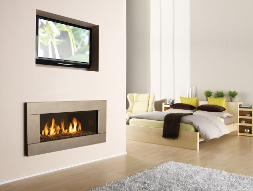 Regency Horizon HZ42E modern gas fireplace- tv inset, i dont know but i think it looks better without cutout