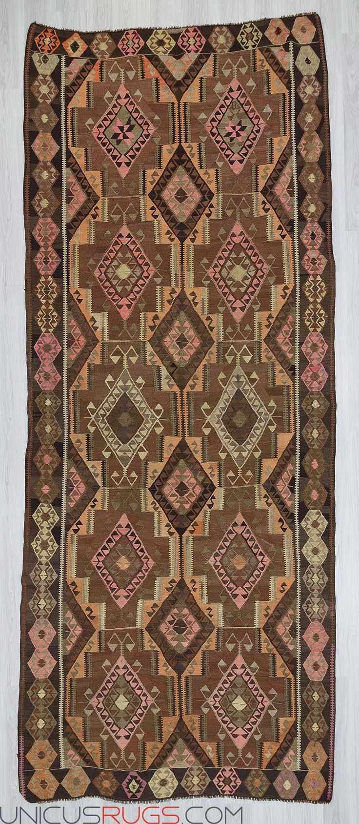 """Vintage kilim rug from Kars region of Turkey.In very good condition.Approximaley 55-65 years old Width: 6' 2"""" - Length: 15' 3""""  Colorful Kilims"""