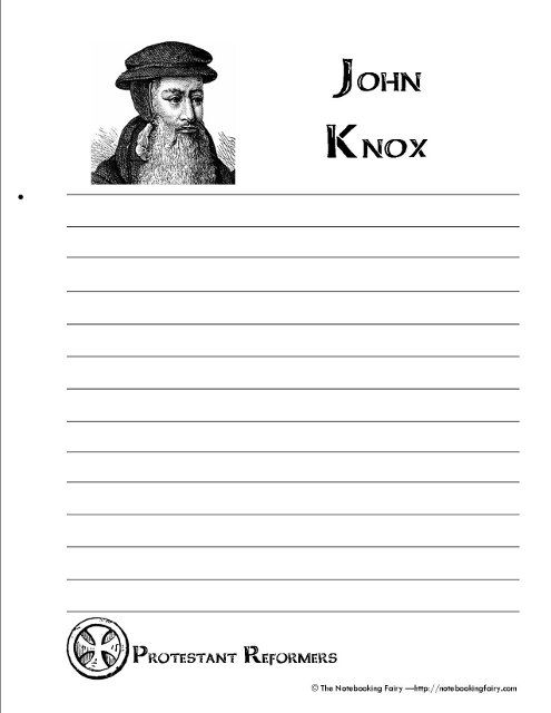 FREE Protestant Reformers Notebooking Pages