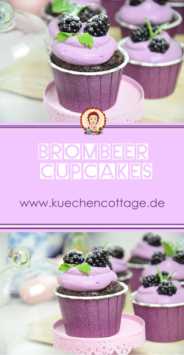 Brombeer Cupcakes | Rezept Tutorial Anleitung | Sommersaison | Küchencottage  www.kuechencottage.de  #cupcakes #muffins #brombeer #brombeercupcakes #backen #foodporn #Rezept #Rezeptideen #Backideen #Video #YouTube #Tutorial #Anleitung #Kuchen #cake #schoko #lila