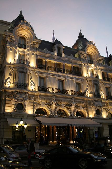 Hotel de Paris at Night - this is the name of the hotel in Monaco where I stayed years ago in the Presidential(?) Suite avec ton père, Huddi.
