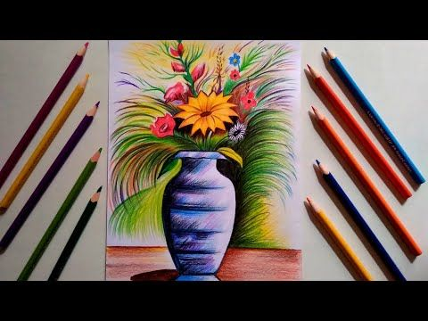 Flower vase drawing with pencil colour step by step || for ...