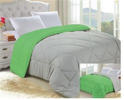 Stone Gray/Lime Green Reversible College Comforter - Twin XL
