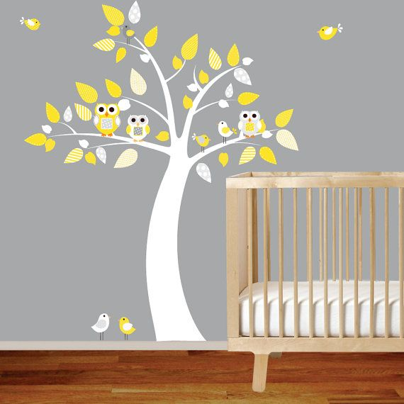 Nursery Tree Decal Girl Boy Vinyl Wall Stickers by wallartdesign, $89.00