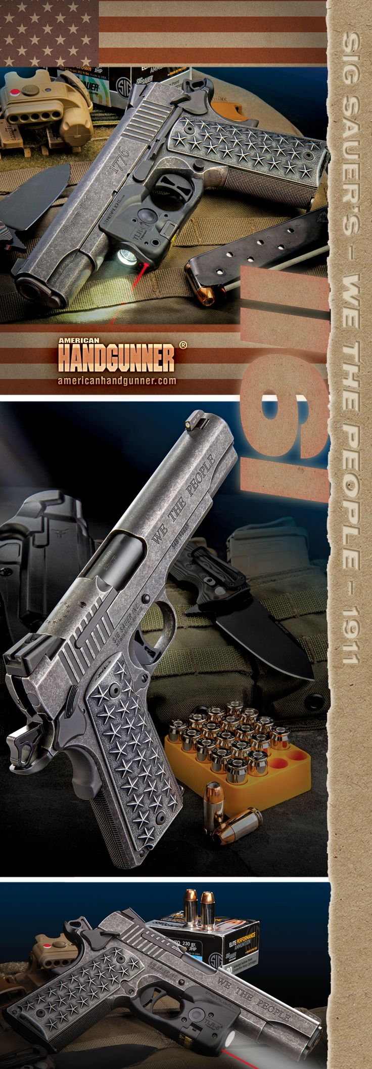 """SIG SAUER """"We The People"""" 1911   By Will Dabbs, MD   A .45 Capturing The Essence Of America   When facing a common foe We the People stand ever strong, united and unbreakable. And SIG has made a 1911 for us that captures this spirit.   © American Handgunner 2018"""