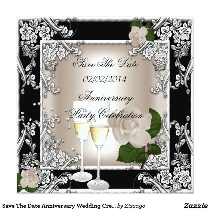 Save The Date Anniversary Wedding Cream Black