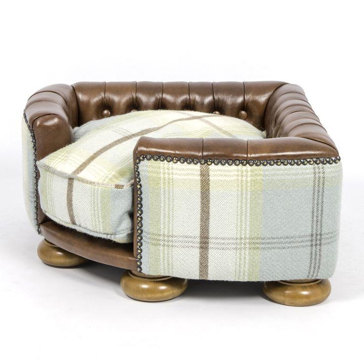 Burton Leather Sofa: The Burton Corner Tan Leather & Duck Egg Tweed
