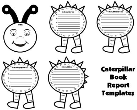 Caterpillar Book Report Project: templates, worksheets